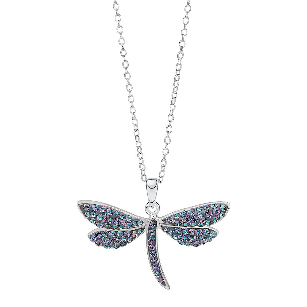 zirconias and dragonfly in lavender with necklace sterling silver cubic pendant pink