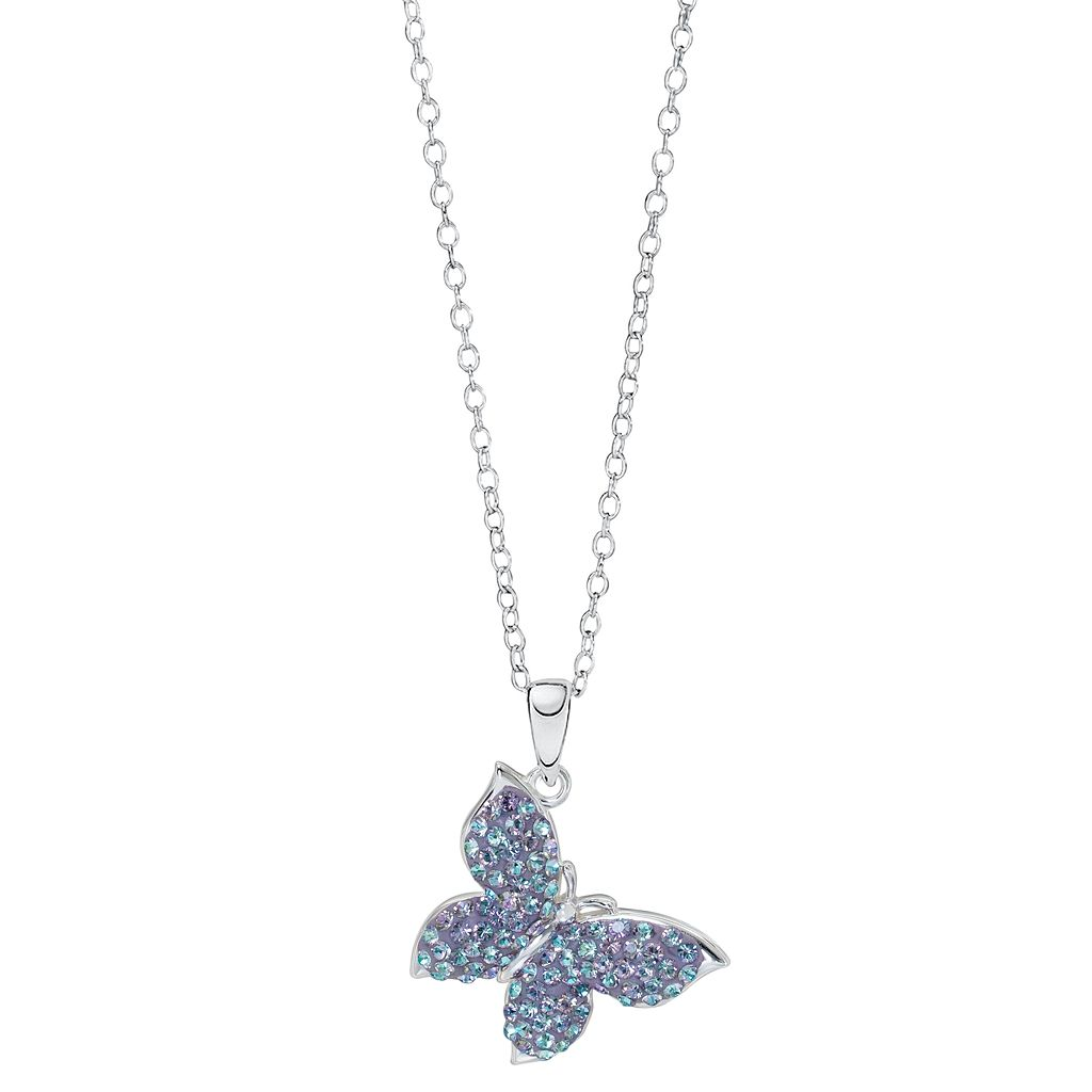 Hue Sterling Silver Crystal Butterfly Pendant Necklace
