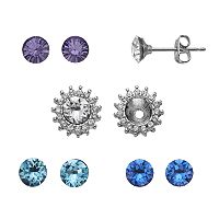Brilliance Silver Plated Interchangeable Flower Stud Earring Set with Swarovski Crystals