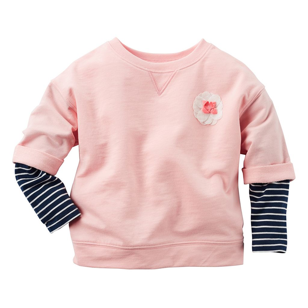 Baby Girl Carter's Striped Mock-Layered Long Sleeve French Terry Rosette Top