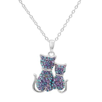 Hue sterling silver crystal cat pendant necklace mozeypictures Choice Image
