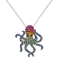 Hue Sterling Silver Crystal Octopus Pendant Necklace
