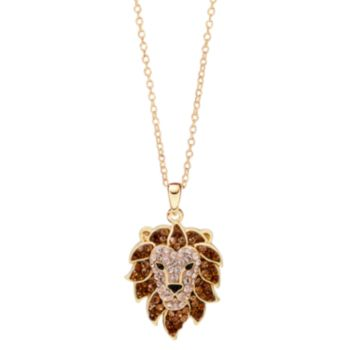 Hue 18k Gold Over Silver Crystal Lion Head Pendant Necklace