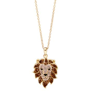 Hue 18k gold over silver crystal lion head pendant necklace aloadofball Choice Image