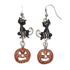 Black Cat & Jack-o'-Lantern Halloween Earrings
