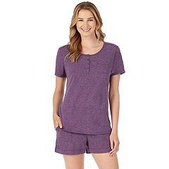 Women's Cuddl Duds Pajamas: Henley Tee & Boxers Set