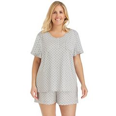 Plus Size Cuddl Duds Pajamas: Henley Tee & Boxers Set