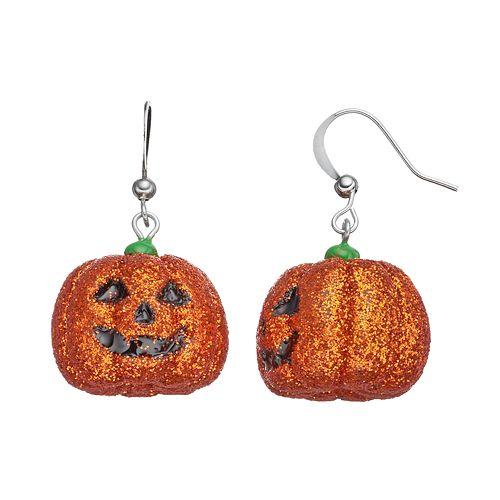 Jack-o'-Lantern Halloween Drop Earrings