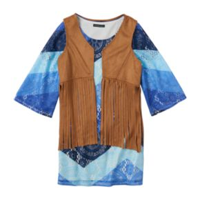 Girls 7-16 My Michelle Chevron Dress & Fringe Vest Set