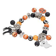 Halloween Black Cat, Jack-o'-Lantern & Ghost Charm Stretch Bracelet