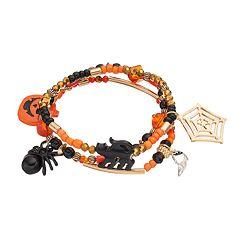 Halloween Spider, Black Cat & Jack-o'-Lantern Charm Stretch Bracelet Set