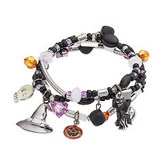 Halloween Black Cat, Witch's Hat & Skull Charm Stretch Bracelet Set