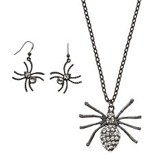 Halloween Spider Pendant Necklace & Earring Set