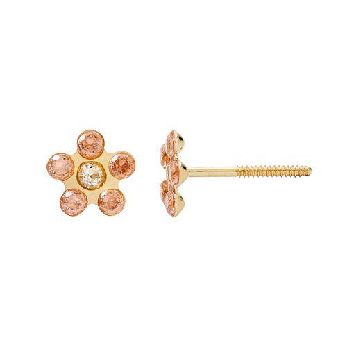Kids' 14k Gold Cubic Zirconia Flower Stud Earrings