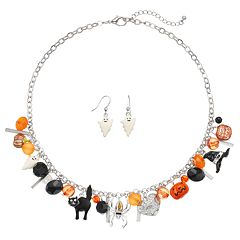 Halloween Beaded Charm Necklace & Ghost Earring Set