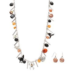Halloween Charm Long Necklace & 'Trick Or Treat' Earring Set