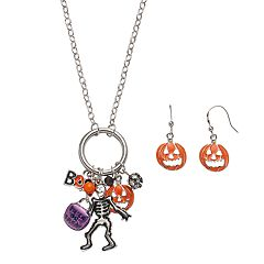 Halloween Skeleton & 'Boo' Charm Necklace & Earring Set