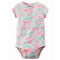 Baby Girl Carter's Print Henley Bodysuit