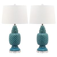 Safavieh Blakely Teal Table Lamp 2 pc Set
