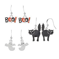 Ghost, 'Boo!' & Black Cat Halloween Earring Set