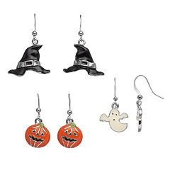 Witch's Hat, Ghost & Jack-o'-Lantern Halloween Earring Set