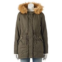 Juniors' Sebby Hooded Faux-Fur Parka