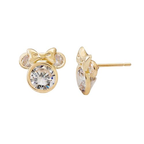 Disney S Minnie Mouse Kids 14k Gold Cubic Zirconia Stud