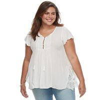 Plus Size World Unity Lace Shark-Bite Tee