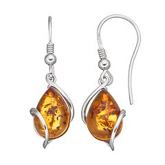 Platinum Over Silver Amber Teardrop Earrings