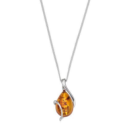 Platinum Over Silver Amber Teardrop Pendant Necklace
