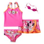 Girls 4-6x ZeroXposur Flower Tankini Top, Bottoms & Ruffled Skirt Swimsuit Set