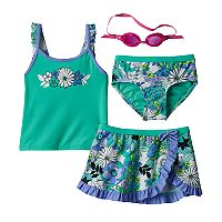Girls 4-6x ZeroXposur Flower Tankini Top, Bottoms & Ruffled Skirt Swimsuit Set
