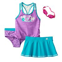 Girls 4-6x ZeroXposur Spaced-Dyed Tankini Top, Bottoms & Skirt Swimsuit Set