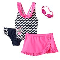 Girls 4-6x ZeroXposur Heart Chevron Tankini Top, Bottoms & Ruffled Skirt Swimsuit Set