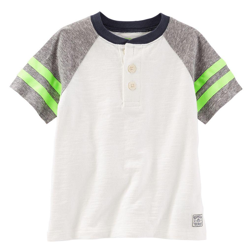 Boys 4-8 OshKosh B'gosh® Raglan Short Sleeve Colorblock Henley Tee