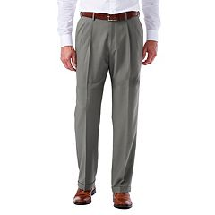 Big & Tall Haggar eCLo Glen Plaid Classic-Fit Pleated Dress Pants