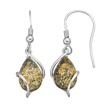 Platinum Over Silver Green Amber Teardrop Earrings