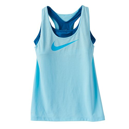 e91d9b8170787 Girls 7-16 Nike Swoosh Built-In Sports Bra Racerback Tank Top
