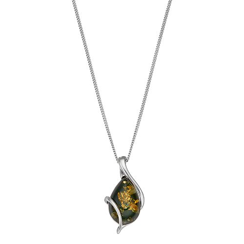 Platinum Over Silver Green Amber Teardrop Pendant Necklace