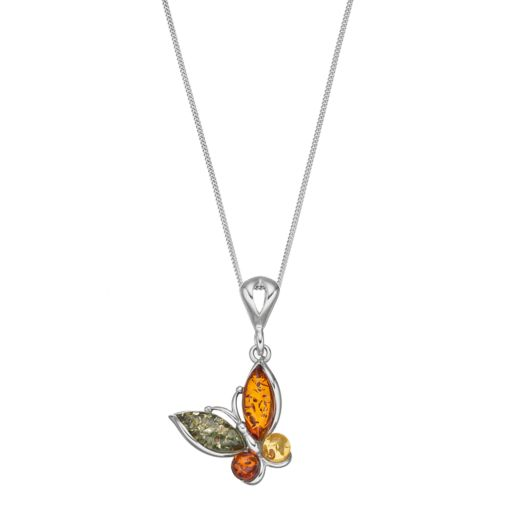 Platinum Over Silver Amber Butterfly Pendant Necklace