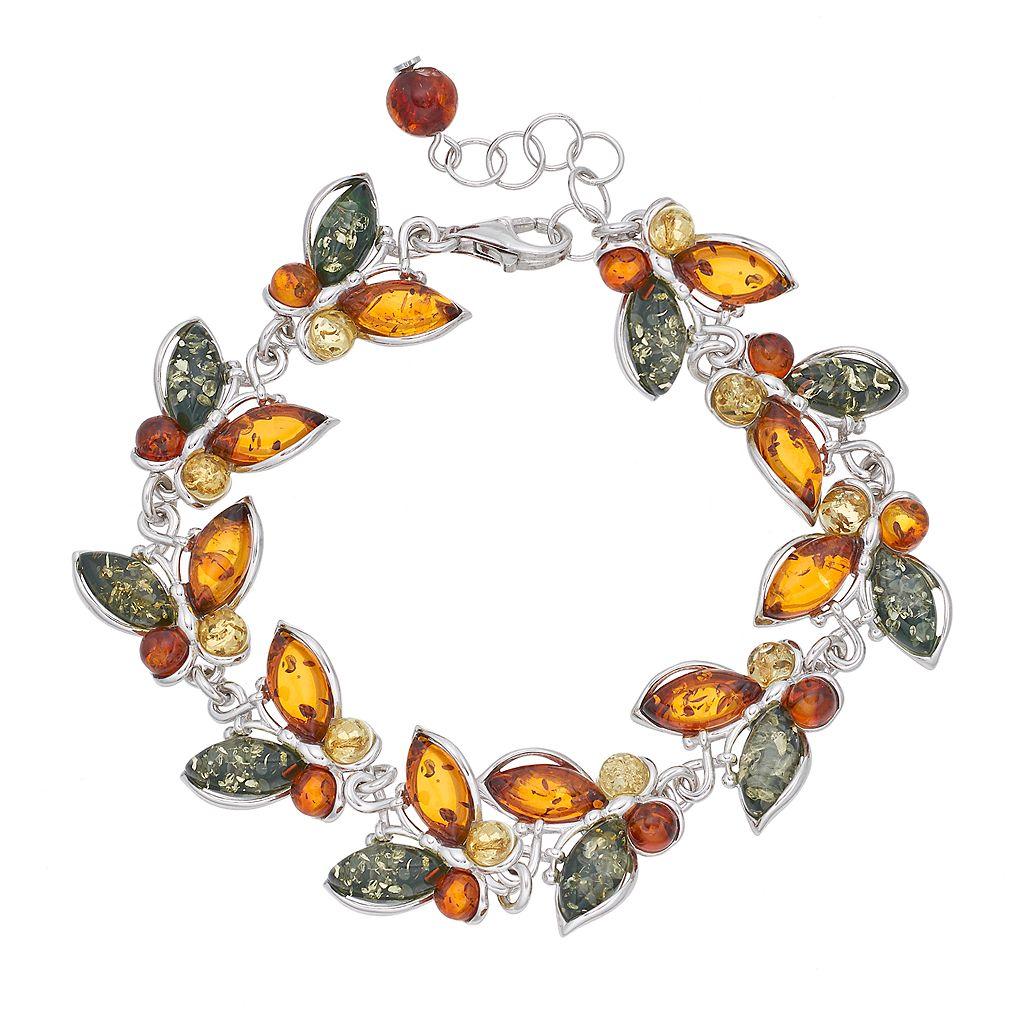 Platinum Over Silver Amber Butterfly Bracelet