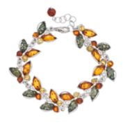 Platinum Over Silver Amber Butterfly Bracelet