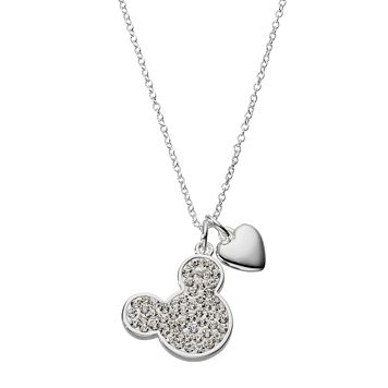 Disney Silver Plated Crystal Mickey Mouse Heart Pendant Necklace