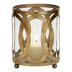 Geometric Gold Finish Metal & Glass Candle Lantern