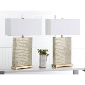 Safavieh Joyce Faux Alligator Table Lamp 2-piece Set
