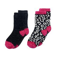 Girls 4-16 Cuddl Duds 2-pk. Leopard & Solid Chenille Crew Socks