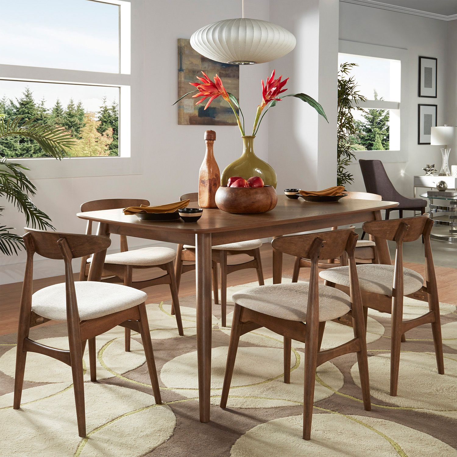 HomeVance Andersen Long Dining Table U0026 Chair 7 Piece Set