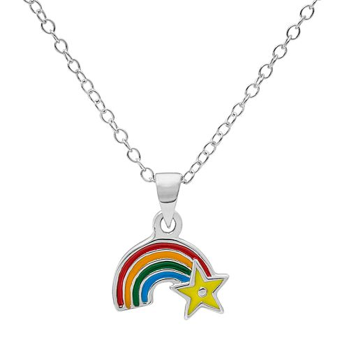 Hallmark Kids' Sterling Silver Rainbow Pendant Necklace