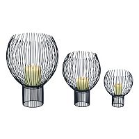Contemporary Metal Globe Pillar Candle Holder 3 pc Set