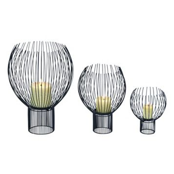 Contemporary Metal Globe Pillar Candle Holder 3-piece Set